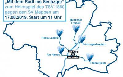 """""""Mit dem Radl ins Sechzger"""" heißt es am nächsten Heimspieltag am 17. August gegen Meppen."""